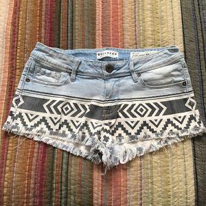 Bullhead Black & White Print Shorts Tribal Boho